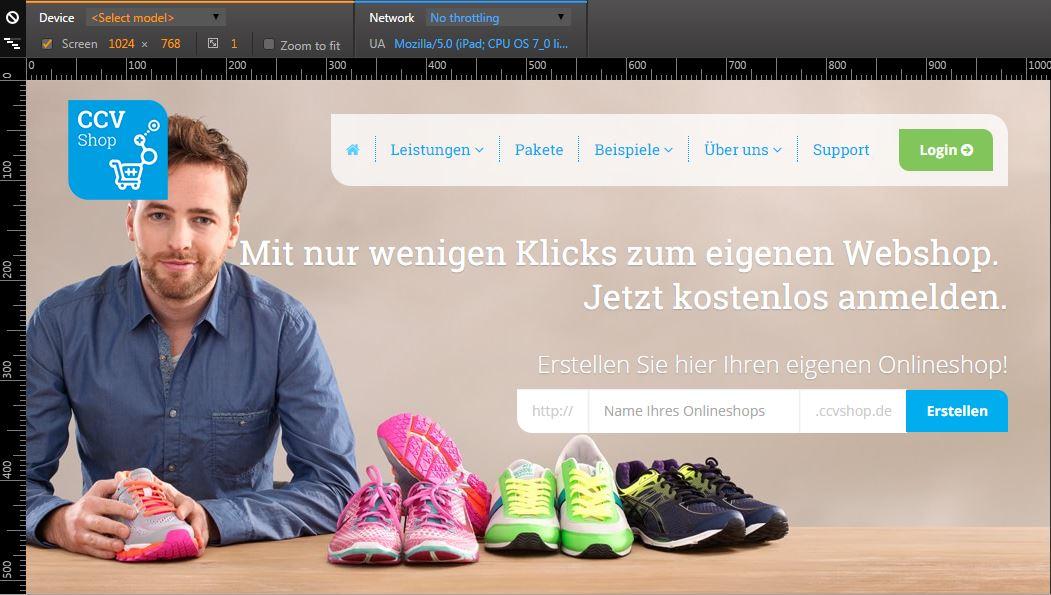 Desktop Variante der Webseite ccvshop.de