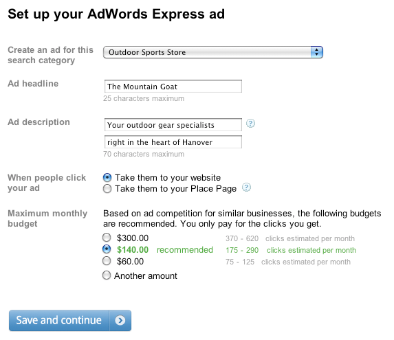 Screenshot einer AdWords Express Anzeige