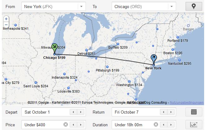 Ergebnis von Google Flight Search