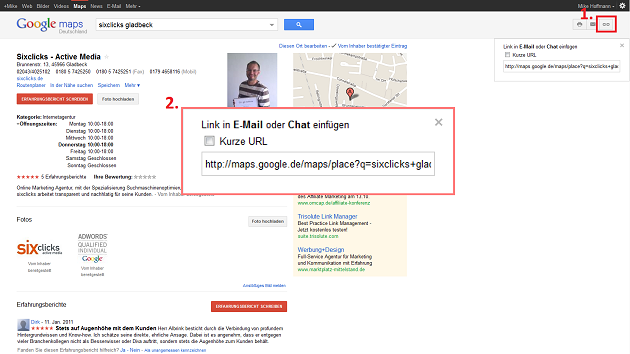 Screenshot Google Linkshortener