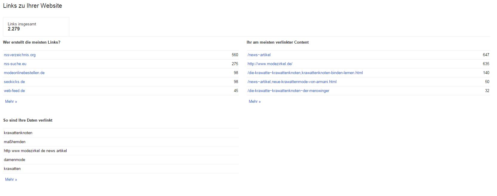 Webseitenlinsk in der Gogoel Search Console