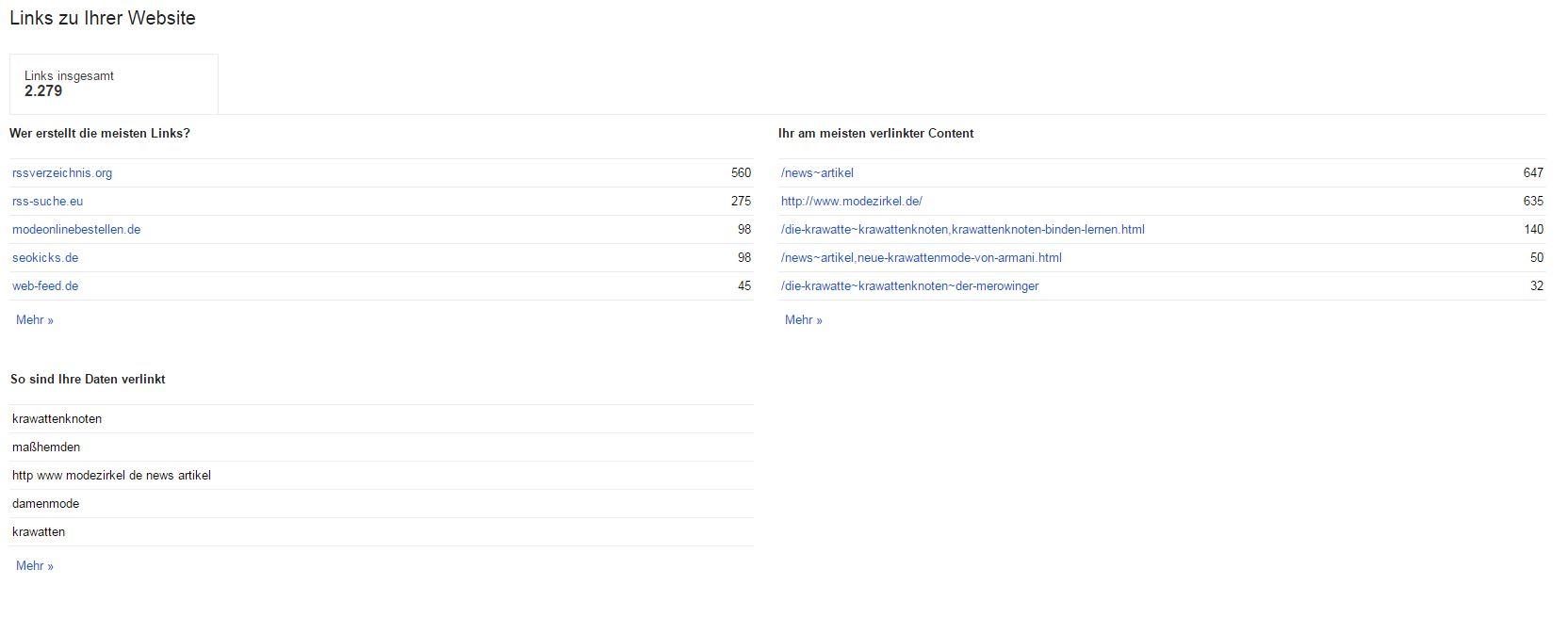 Webseitenlinks in der Google Search Console