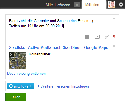 Screenshot eines +Snippets