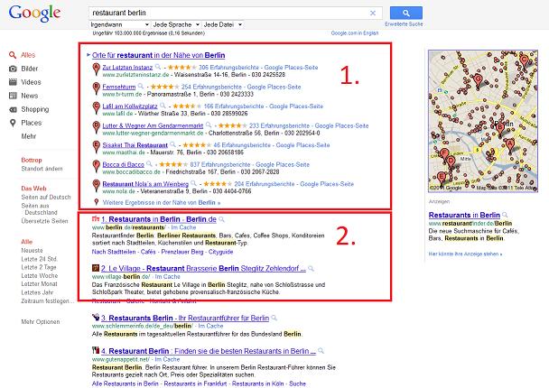 Screenshot Places Suchergebnis