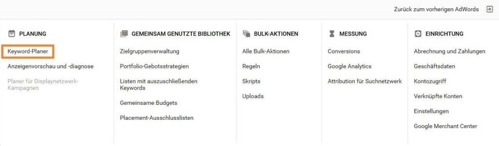 Ein Screenshot vom Link zum Keyword-Planer in Google AdWords.