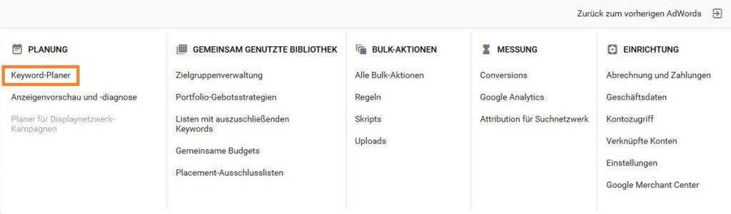 Ein Screenshot vom Link zum Keyword-Planer in Google AdWords.