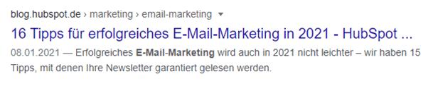 In diesem Snippet ist der Title Tag und die Meta-Description für Google so optimiert, dass Nutzer sofort wissen, was sie auf der Seite erwartet.