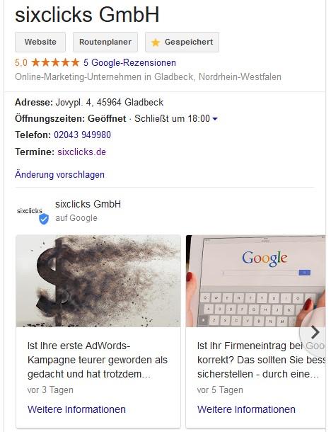 Der Google My Business Eintrag von sixclicks mit aktuellen Beiträgen auf der Suchergebnisseite