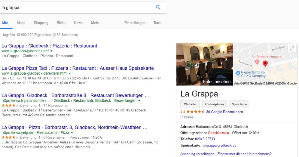 Bewertungen zu einem Google My Business Eintrag in der Google Suche anzeigen