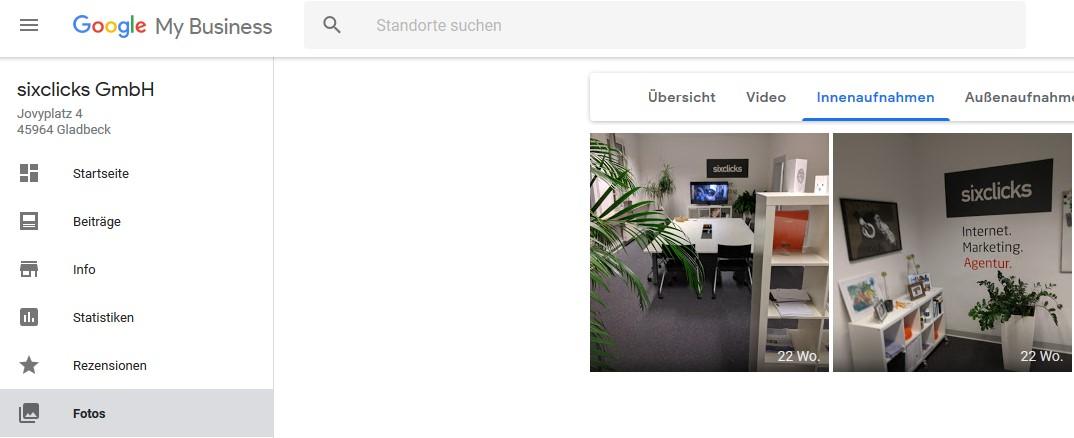 """Google My Business Dashboard mit Navigationspunkt """"Fotos"""" und den Fotos der Kategorie """"Innenaufnahmen"""""""