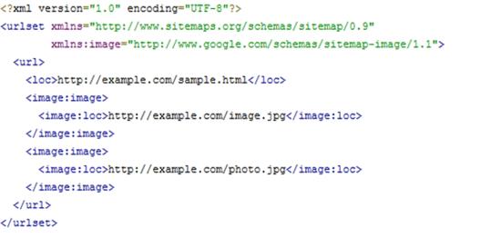 Quellcode einer XML-sitemap für bilder seo