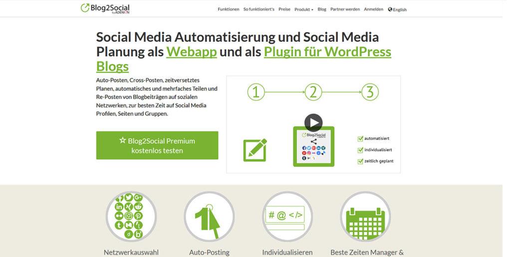 Startseite des Social Media Tools Blog2Social
