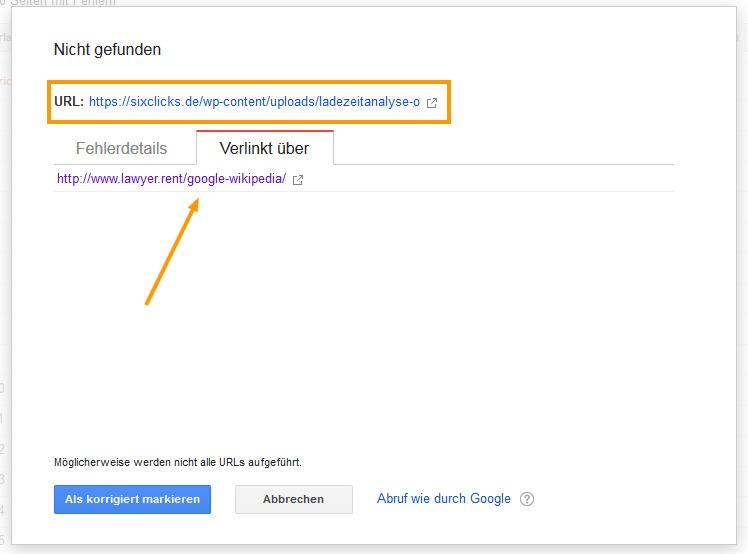 Detaisl zu einem Crawling Fehler in der Google Search Console