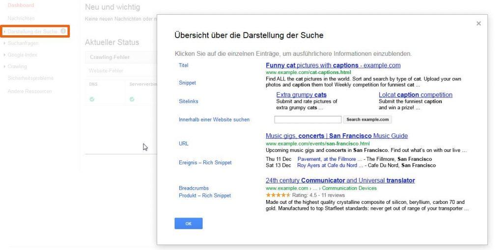So sehen die Suchergebnisse bei Google aus.