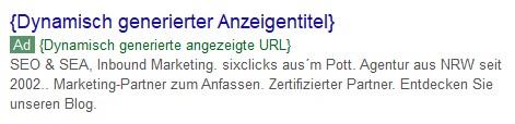Beispiel einer dynamischen Kampagne mit dynamisch generierter Anzeigentitel, URL und Anzeigenbeschreibung
