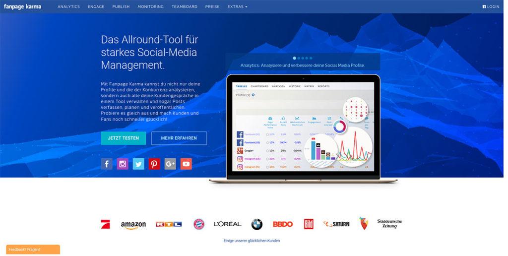 Startseite des Social Media Tools Fanpage Karma