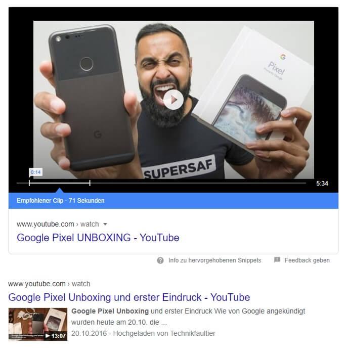 Featured Snippet für Unboxing eines Google Pixel Phones