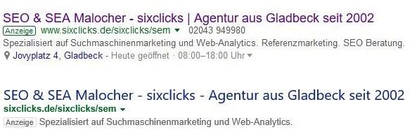 Screenshot eines Google Ads Snippets und eines Bing Ads Snippets im Vergleich