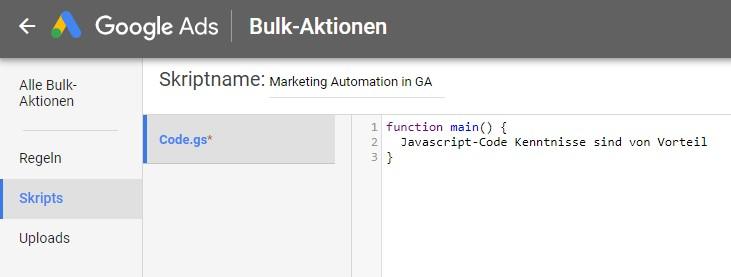 Bulk Aktion in Google Ads, Skripts, eigene Funktionen mit JavaScript-Code aufbauen