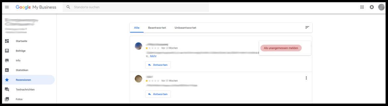 Negative Bewertung melden im Google My Business Dashboard