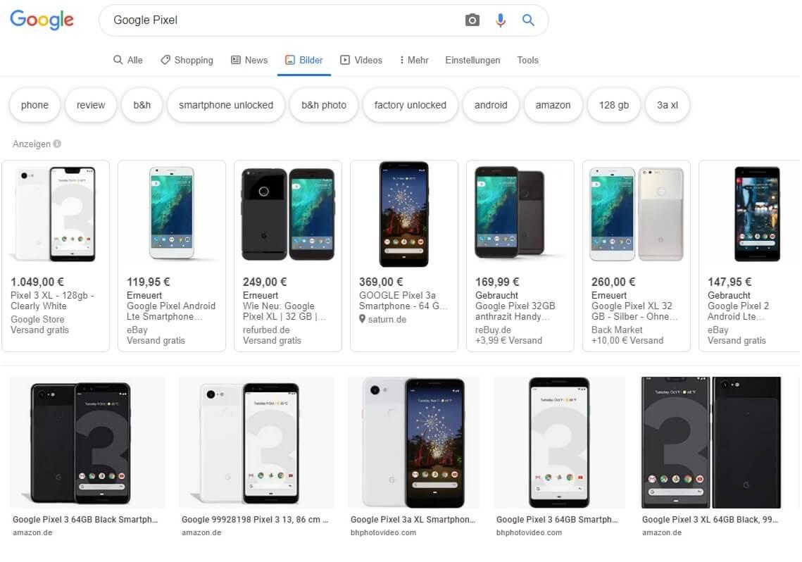Die Google Bildersuche als Analysetool verwenden um den User Intent zum entsprechenden Keyword zu verstehen