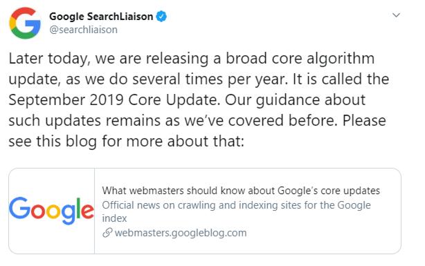 Ankündigung eines Google Core updates im September 2019 auf Twitter über SearchLiaison