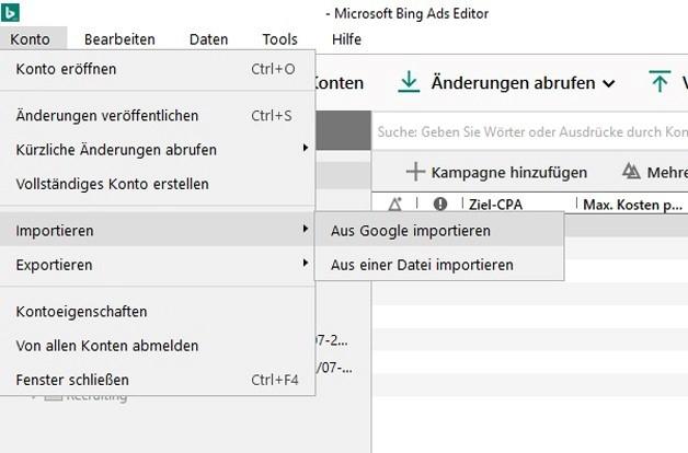 """Screenshot von einem Bing Ads Konto mit der Auswahl """"Aus Google importieren"""""""