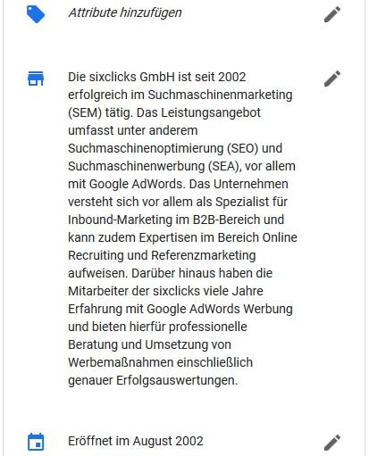 Standortinformationen bei Google My Business bearbeiten - Attribute, Beschreibung und Eröffnungsdatum