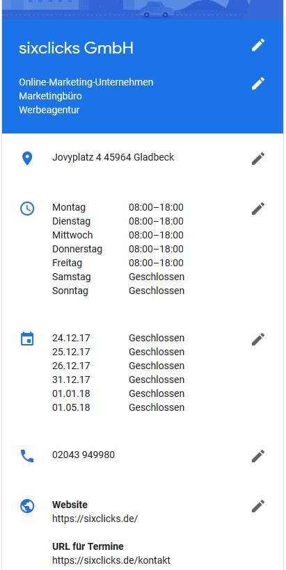 Standortinformationen bei Google My Business bearbeiten - Name, Kategorien, Adresse, Öffnungszeiten, Telefonnummern und Links