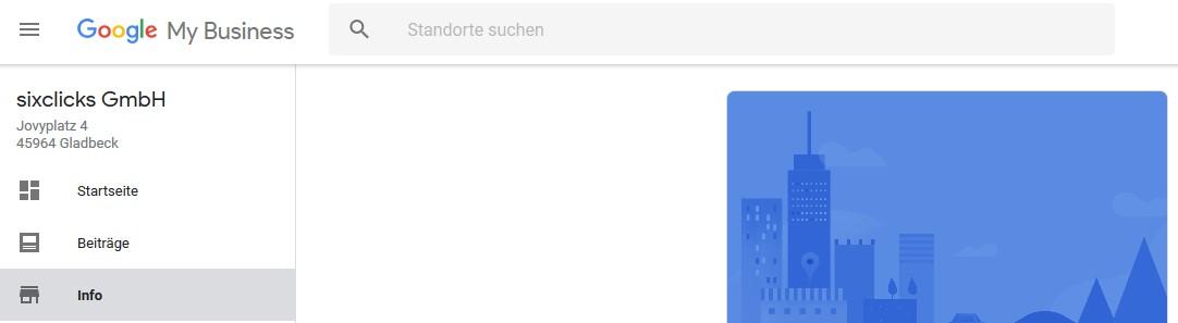 "Google My Business Dashboard mit Navigationspunkt ""Info"""