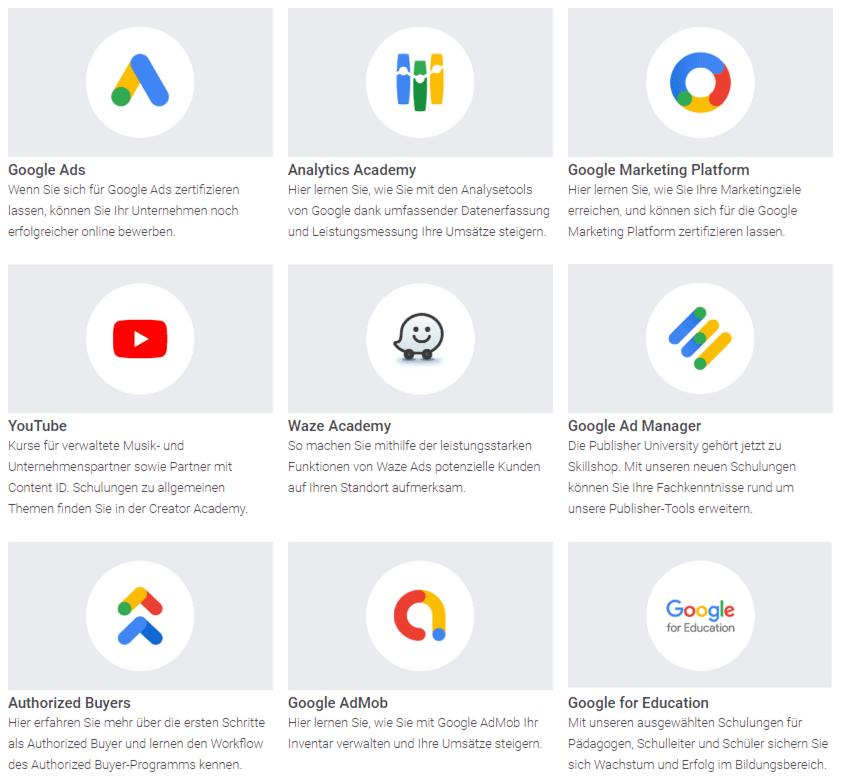 Zwischen diesen Produkten können Sie im Google Skillshop auswählen