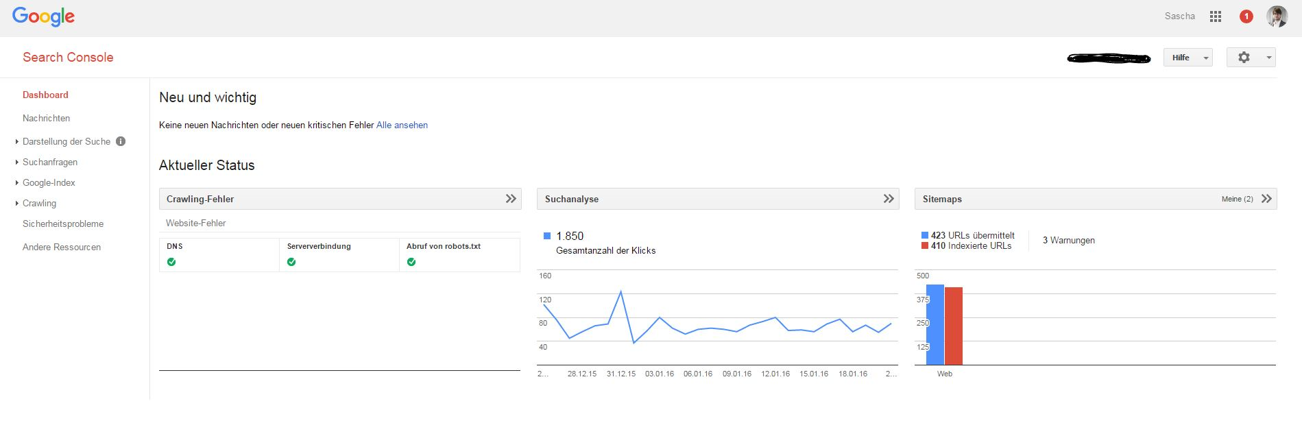 Dashboard der Google Search Console