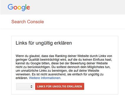 Links für ungültig erklären in der Google Search Console
