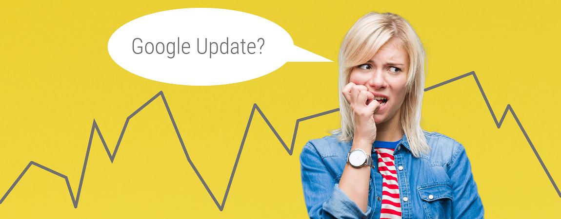 Frau die besorgt aussieht und sich fragt ob sie von einem google update betroffen ist