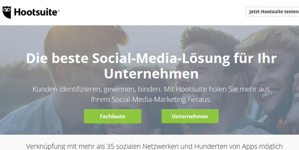 Startseite des Social Media Tools Hootsuite