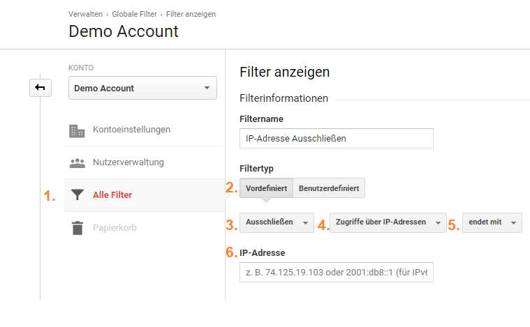 Ip Adresse in Google Analytics filtern