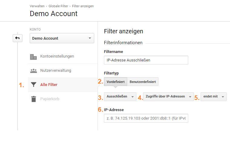 Ip Adresse in Google Analytics filtern