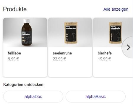 Ansicht von Produkten in einem GMB Eintrag mit dazugehörigen Kategorien