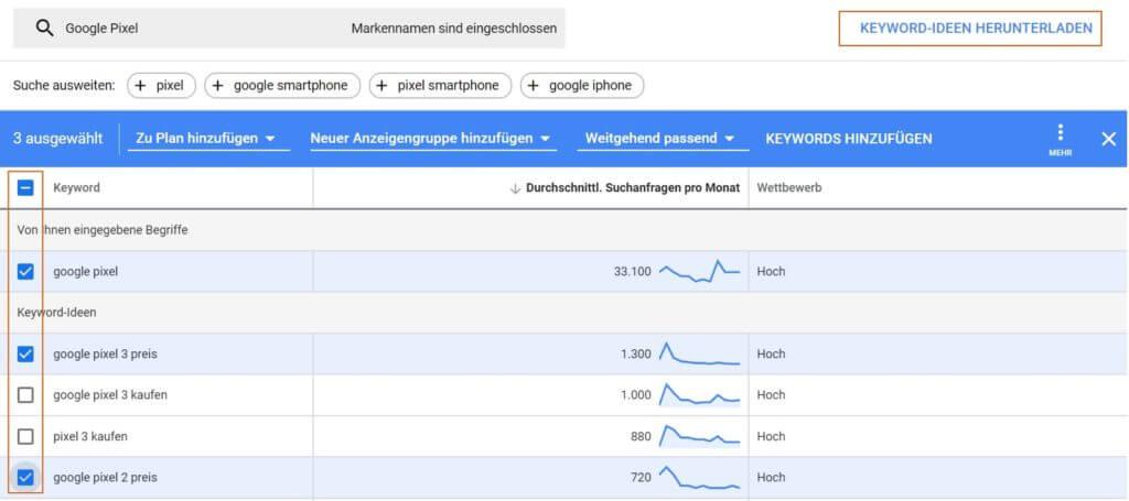 Auswahl der gewünschten Keywords und Download der Keyword-Ideen im Google Ads Keyword Planer