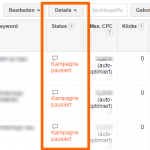 Keywordstatus im AdWords System