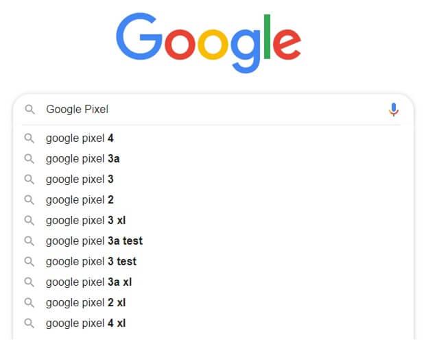 Setzen Sie ein Leerzeichen hinter den Suchbegriff in der Google-Suche