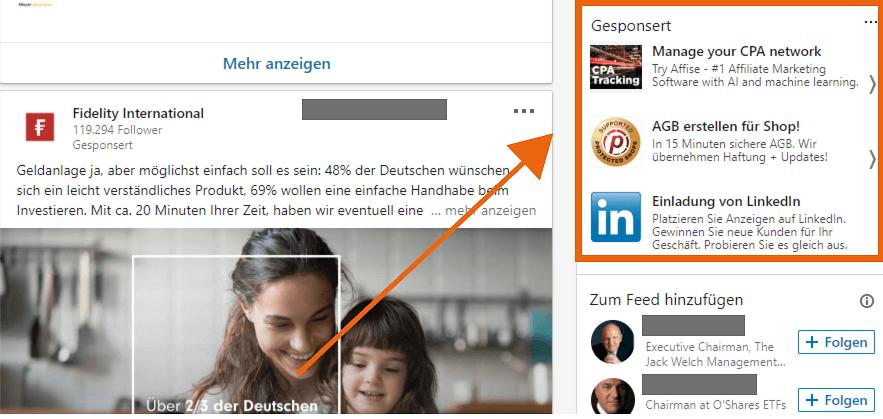 Ausschnitt aus einem LinkedIn feed für text ads