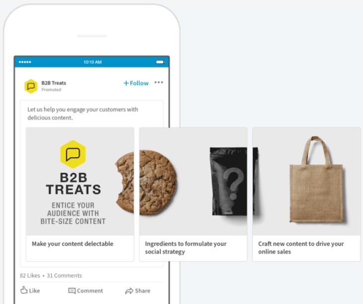 Ausschnitt des LinkedIn Ads Format carousel ads von der offiziellen LinkedIn homepage