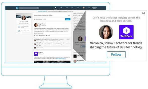 Ausschnitt einer Follower Ad von LinkedIn offizieller Homepage