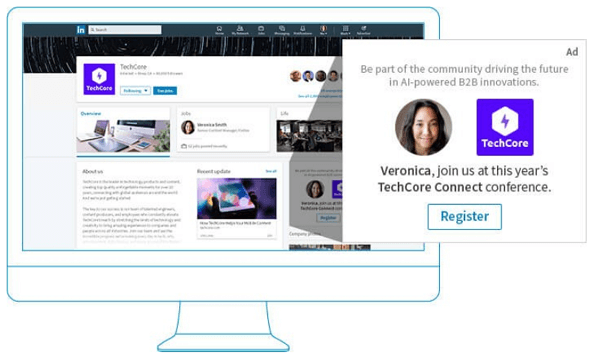 Ausschnitt einer Spotlight Ads von LinkedIn offizieller Homepage