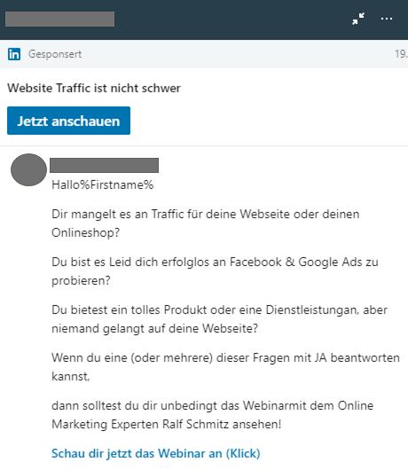 Beispiel einer sponsored Inmail auf LinkedIn zur teilnahme an einem webinar
