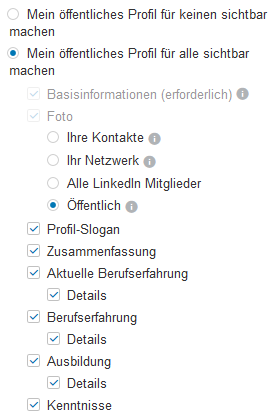 LinkedIn Profileinstellungen