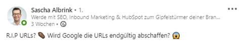 So sieht eine Hook auf LinkedIn für Sascha Albrink aus