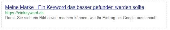 Suchmaschinenergebnis von Google mit marke als Präfix