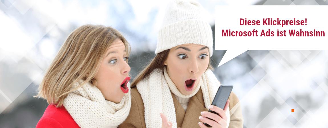 zwei frauen überrascht klickpreise microsoft ads